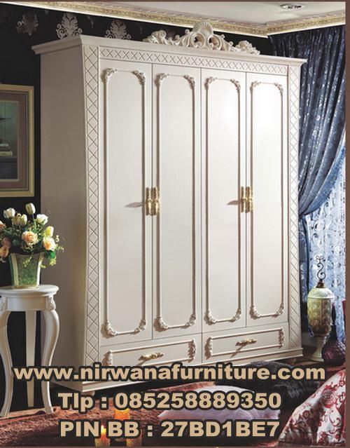 Desain Lemari Pakaian 4 Pintu Warna Putih | Jual Lemari Pakaian Mewah