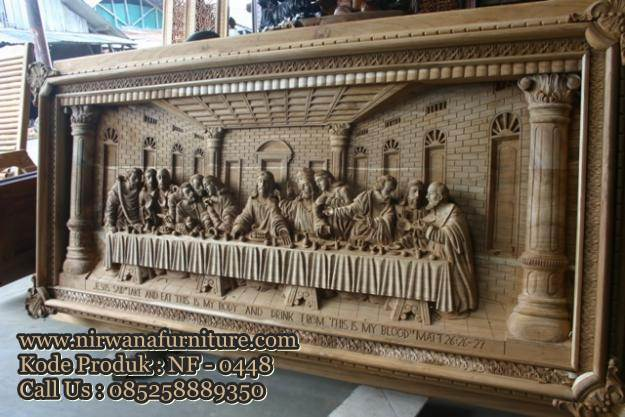 Relief Ukir Kayu Jepara Cerita Perjamuan