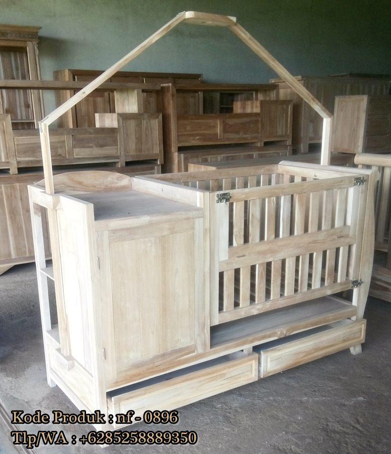 Tempat Tidur Bayi Kayu Jati Ready Stock