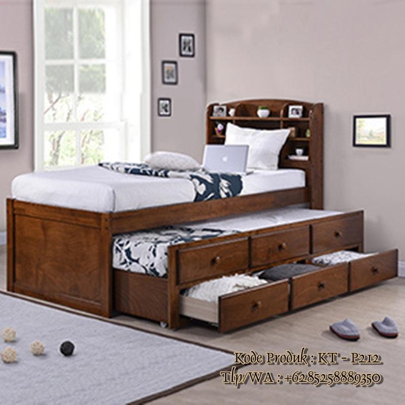 tempat-tidur-anak-kayu-jati-model-laci-sorong